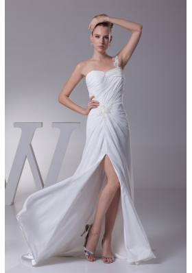 Ruched and Beaded One Shoulder Brush Train Bridal Gown with HIgh Slit
