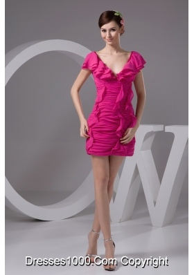 Ruched and Flounced Mini-length V-neck Prom Dresses in Hot Pink