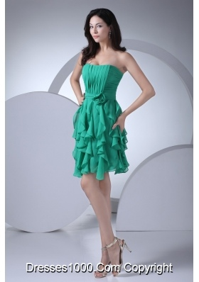 Ruched Sweetheart Ruffled Layers Short Prom Dress with Flowers Sash