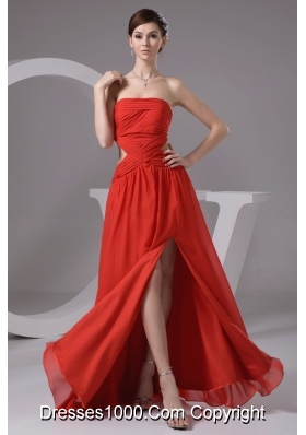 Rust Red Strapless High Slit Chiffon Prom Dress with Cutout Waist