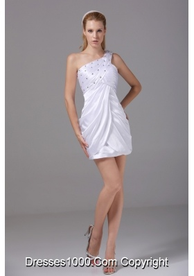 Short White Prom Dress for Ladies One Shoulder Beaded Ruched