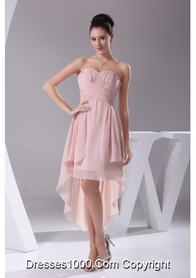 Sweetheart Ruched High-low Pink Prom Dress for Women