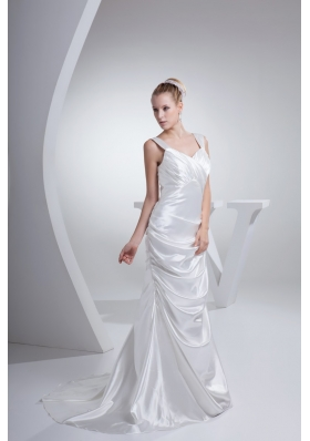 Wide Straps Ruching and Pick-ups Decorated Sweep Train Wedding Gown