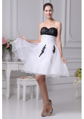 Black and White Organza Sweetheart Beaded Prom Graduation Dress