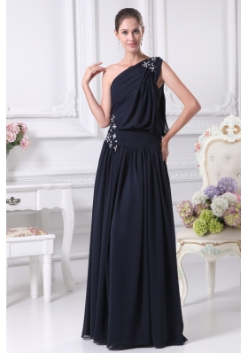 Navy Blue Empire One Shoulder Beading Chiffon Prom Dresses