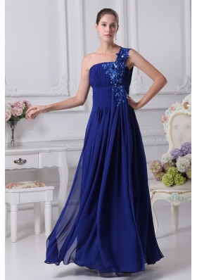 Royal Blue One Shoulder Appliques Beaded Ruched Prom Dress