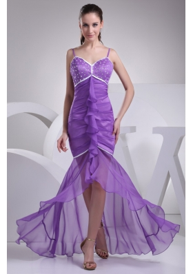 Spaghetti Straps High Low Prom Dresses with Beading Ruche and Ruffles