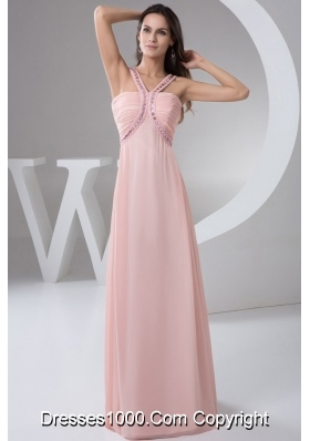 Beautiful Beaded Straps Ruched Prom Dress in Baby Pink