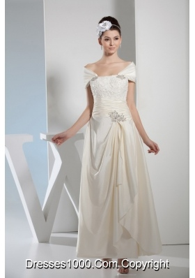 Column Off The Shoulder Beading and Ruching Wedding Dress