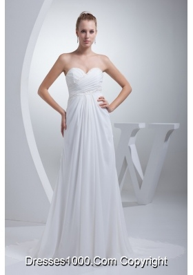 Empire Court Train Sweetheart Bridal Dresses with Diamonds and Ruching