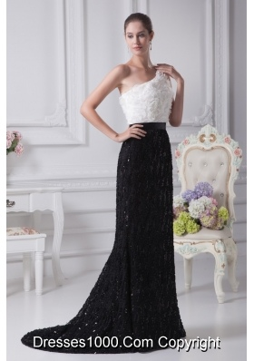 Floral Embellishment Sash One Shoulder Trumpet Prom Gowns