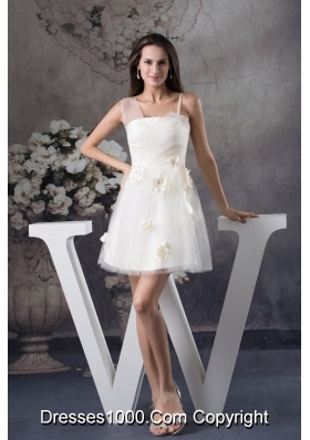 Hand Made Flowers Short Tulle Bridal Dresses with Assymetricl Straps