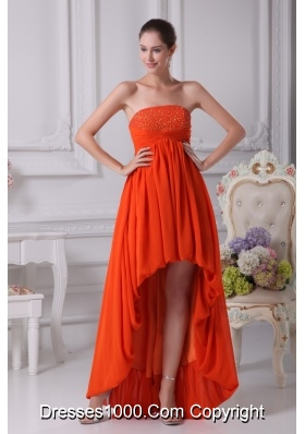 High Low Pleating Prom Dresses with Beaded Strapless Neckline