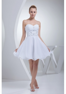 Mini-length Bridal Dresses with Beade Waist and Ruched Sweetheart Neckline