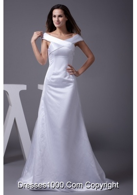 Off The Shoulder Sheath Brush Train Bridal Dresses with Zipper-up Back