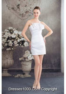 One Shoulder Column Ruching Bridal Dresses Decorated with Bowknot