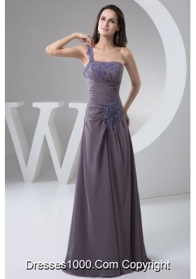 One Shoulder Empire Floor-length Ruched Appliques Prom Dress
