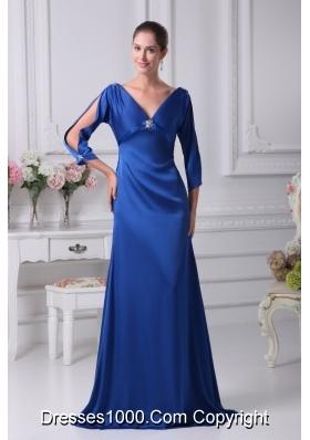 Royal Blue V-neck Long Sleeves Empire Floor-length Prom Dress