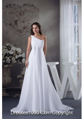 Ruche and Handle Flowers One Shoudler Court Train Bridal Dresses in White