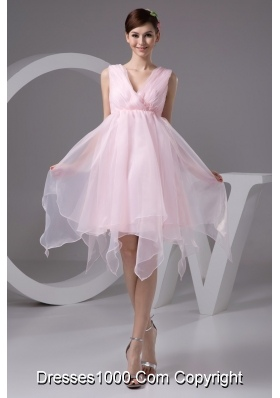 Ruched and Appliqued Pink V-neck Prom Evening Dress for Cheap