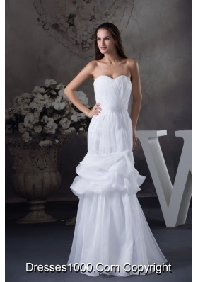 Ruching and Pick-ups Decorated Sweetheart Trumpet Bridal Dresses