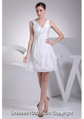 Ruffles and Ruching Decorated Princess V-neck White Prom Gowns