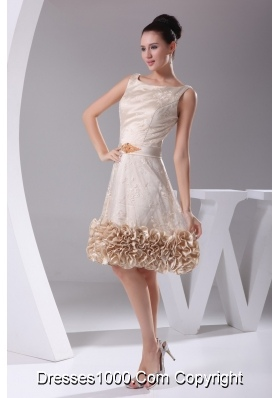 Scoop Princess Prom Dress with Sah Lace Flowers and Ruffled Edge
