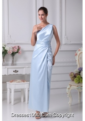 Single Shoulder Ankle-length Prom Dresses with Slit and Ruched Sash