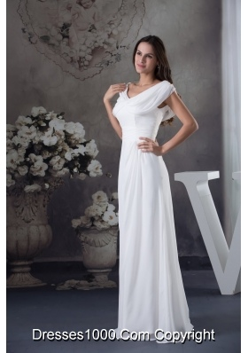 V-neck Buttrfly Sleeves Sash Sheath Floor-length Bridal Dresses