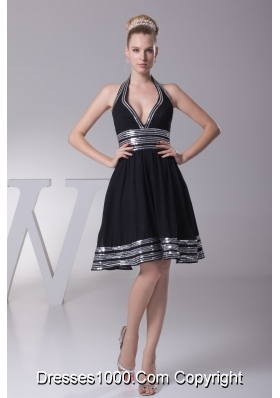 A-line Halter Top Plunging Neckline back Out Prom Dress with Pailettes