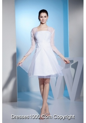 A-line Long Sleeve Knee-length Wedding Dresses in White Hot Sale