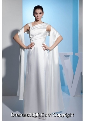 Asymmetrical Neck Ruched White Wedding Dresses Floor-length