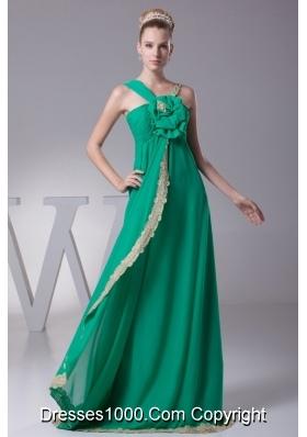Asymmetrical Neckline Brush Train Flower Prom Dress with Lace Hemline