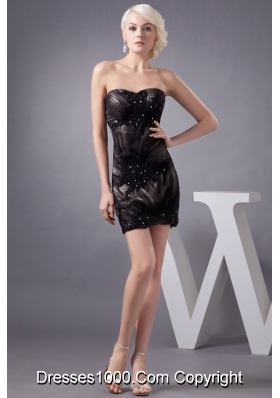 Beaded Appliques Accent Black Mini-length Prom Gown Dress