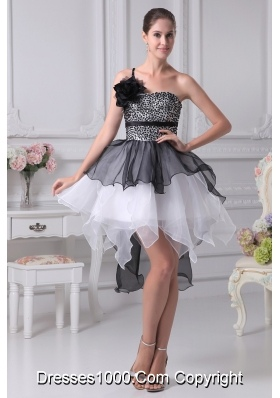 Black and White Single Flower Strap Prom Dress with Ruffles and Sequins