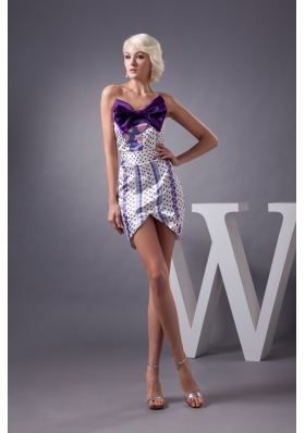 Bowknot and Colorful Print Accent Mini-length Prom Dresses