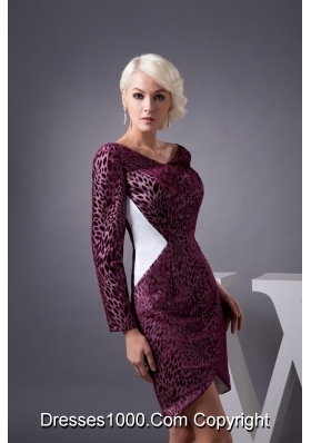 Burgundy Mini-length Prom Dresses with V-neck and Long Sleeves