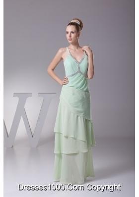 Column Apple Green Beading Ruffled Layers V-neck Chiffon Prom Dress