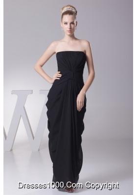 Column Black Pick-ups Prom Dress with Bowknot Shaped Sash