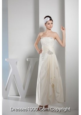Column Strapless Bridal Dress with Appliques and Ruching