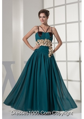 Column V-neck Chiffon Prom Gown with Hand Made Flowers