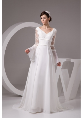 Column V-neck Flounced Long Sleeve White Bridal Dress with Embroidery