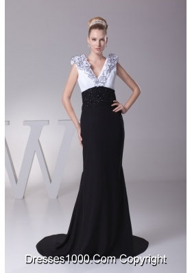 Column White and Black V-neck Ruffles Beading Prom Dresses