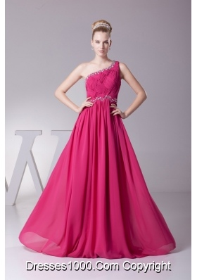 Diamonds Decorated Column Long Chiffon Prom Dresses in Hot Pink