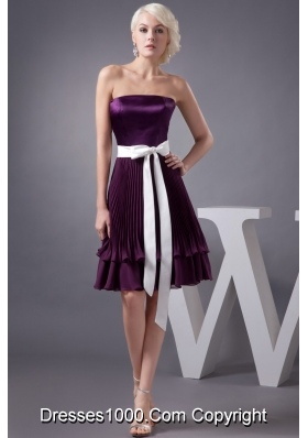 Eggplant Purple Knee-length Prom Gown Dress with Sash and Pleats