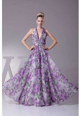 Fashion Multi-color Halter Printing Ruching Prom Dresses