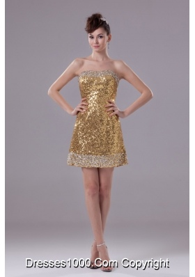 Gold Mini-length Column Sequin Prom Dress Decorated with Beadings