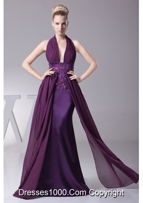 Halter Plunging Neckline Cool Back Prom Dress with Beaded and Appliqued Sash