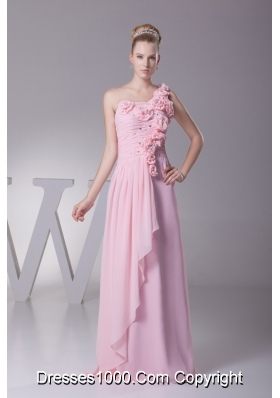 Hand Made Fowers and Jewelry Decorated One Shoulder Pink Prom Gowns