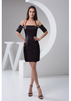 Lace and Halter Accent on Black Mini Prom Graduation Dresses